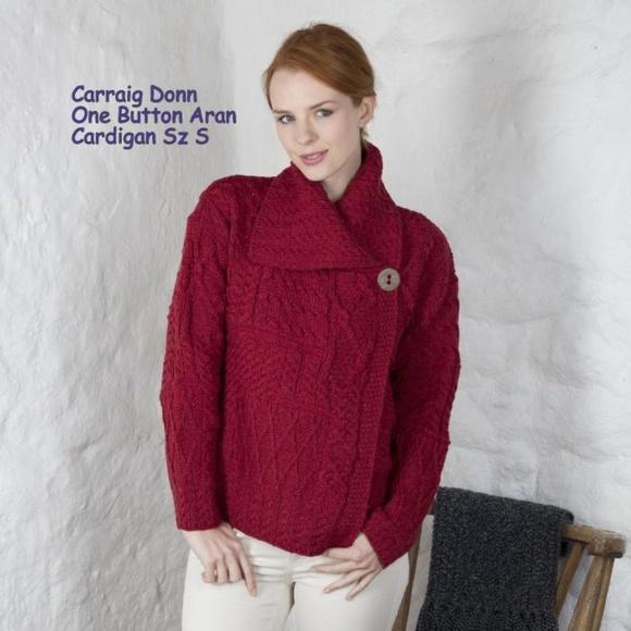 cb11f69e244 Carraig Donn Sweaters - Carraig Donn One Button Red Aran Cardigan sz Sm